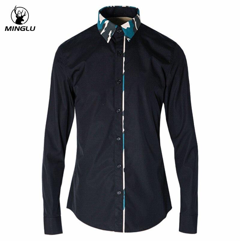 Hommes robe chemises Slim Fit Chemise Homme Camouflage Social Camisa Masculina noir Chemise de luxe hommes 2017 marque Design à manches longues