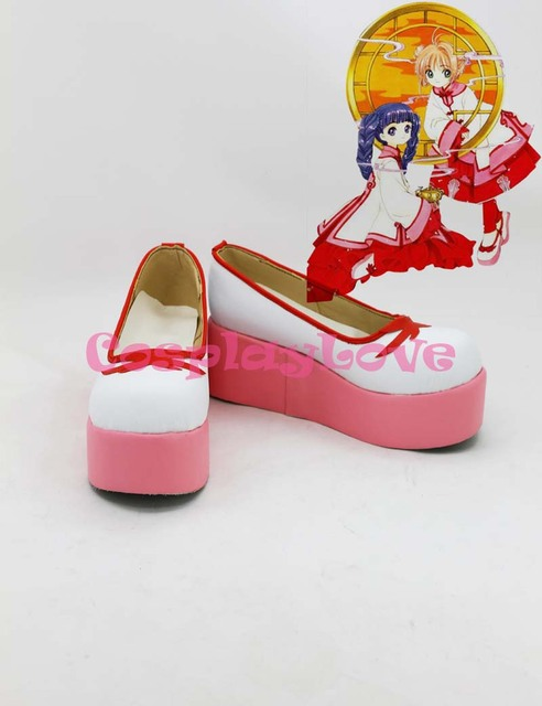 SAKURA KINOMOTO Cosplay Shoes Boots Custom Made pink&white