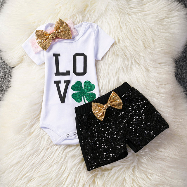 aae1c31af0661 Trendy Baby Girl Clothes Newborn Toddler Infant Clothing Set Baby  Romper+Shorts+Headband Bebes Outfits For 1 2 Year Little Girl