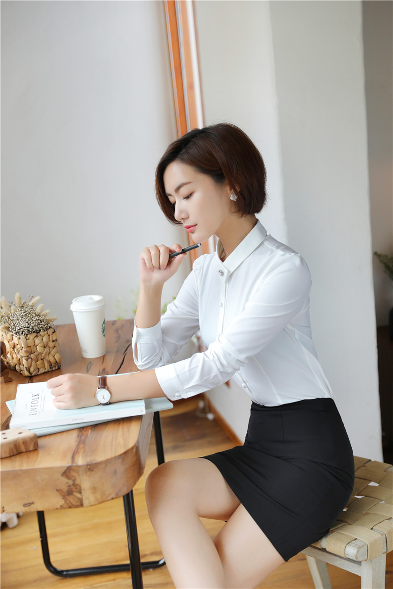 a089a83a9 2 Piece Sets Women Work Wear Suits Skirt and Blouses Sets White Tops Ladies  Business Clothes Office Uniform Styles-in Skirt Suits from Women's Clothing  on ...