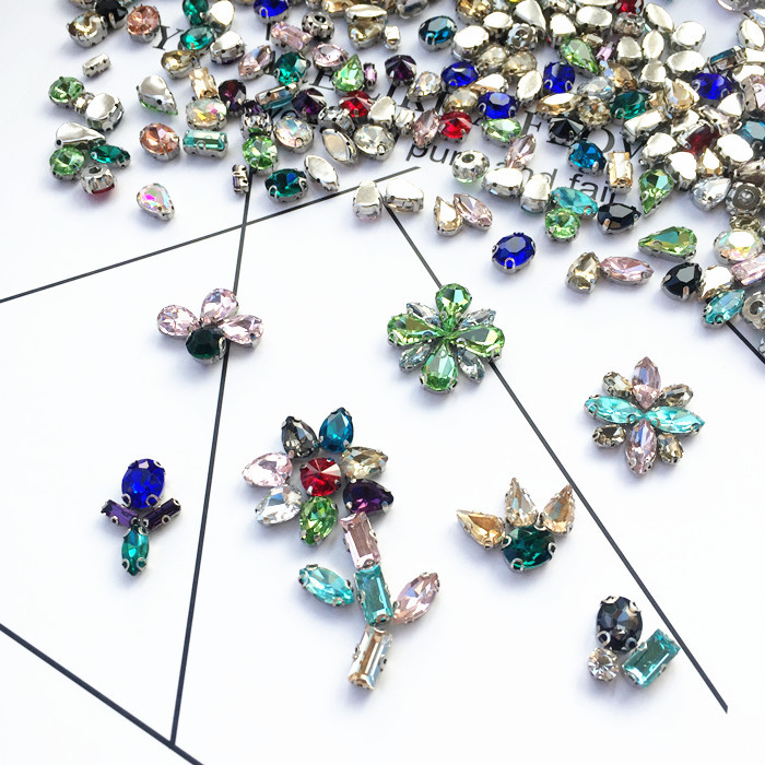 SOWOO Mix color Mixed Shapes Mixed Sizes Sew On Rhinestone with Claw Glass Crystals Sewing Stone For Clothes Decoration