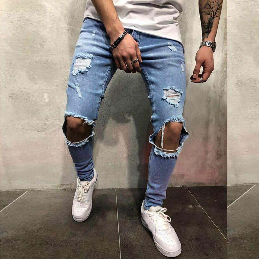 9377fb2974 Detalle Comentarios Preguntas sobre Nueva moda para hombre Vaqueros  ajustados de Denim Stretch pantalones rotos de Freyed Slim Fit pantalones  vaqueros ...