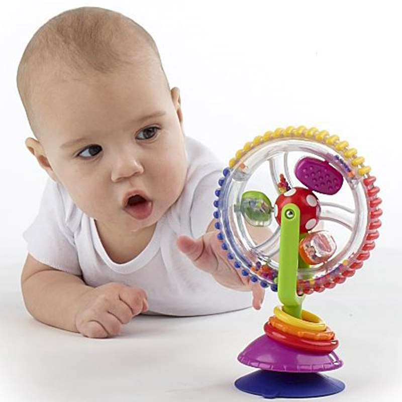 Baby early creative educational toys tricolor multi-touch rotating Ferris wheel toy with suction cups