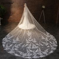 Favordear Top Quality 4.5m Bridal Veil With Silver Comb 1 Layer Cathedral Champagne Lace Wedding Veil
