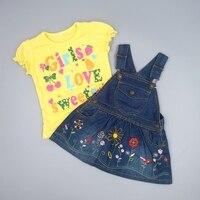 Высокое качество Комплекты одежды для маленьких девочек Babe подвеска нагрудник Юбки для женщин 2 шт. Спецодежда летняя Обувь для девочек хло...