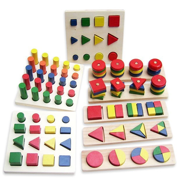 8 In 1Set Montessori Birthday Gift Teaching Toy Geometry Shape Learning Classic Blocks Wooden Toys Baby Toy Educational
