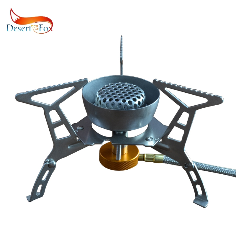 Desert&Fox 3500W Outdoor Gas Stove Wind Deflector Camping Picnic Cooking Tools Portable Wire Hose Folding Burner