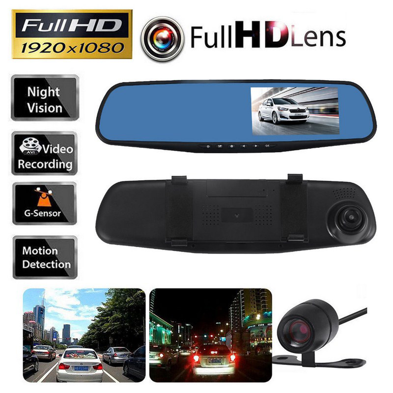 1080P HD Car DVR Dash Camera Mirror 170 Degree 4.3 Inch Display Auto Vehicle Driving Recorder Camera Dash Cam Car Camera Mirror цена