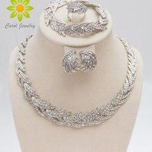 Набор украшений в форме листьев, посеребренный, прозрачный кристалл, новая мода, Свадебный Африканский костюм, ювелирные наборы