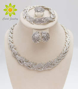 Jewelry-Set Crystal African-Costume Wedding-Bridal Silver-Plated New-Fashion Clear Leaves-Shape