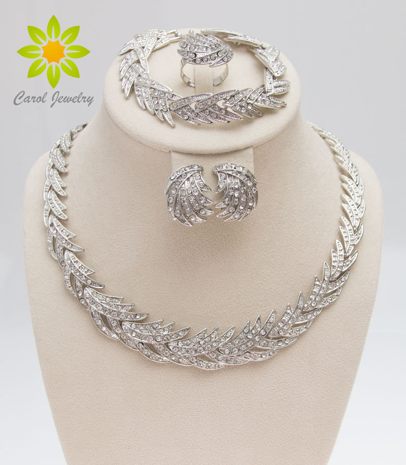 Free Shipping 2016 Leaves Shape Silver Plated Clear Crystal Jewelry Set New Fashion Wedding Bridal African