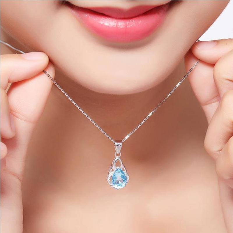 TJP Top Quality Silver 925 Girls Pendant Necklace Jewelry Female Fashion Crystal Blue Water drop Women Necklace Accessories Lady in Pendant Necklaces from Jewelry Accessories