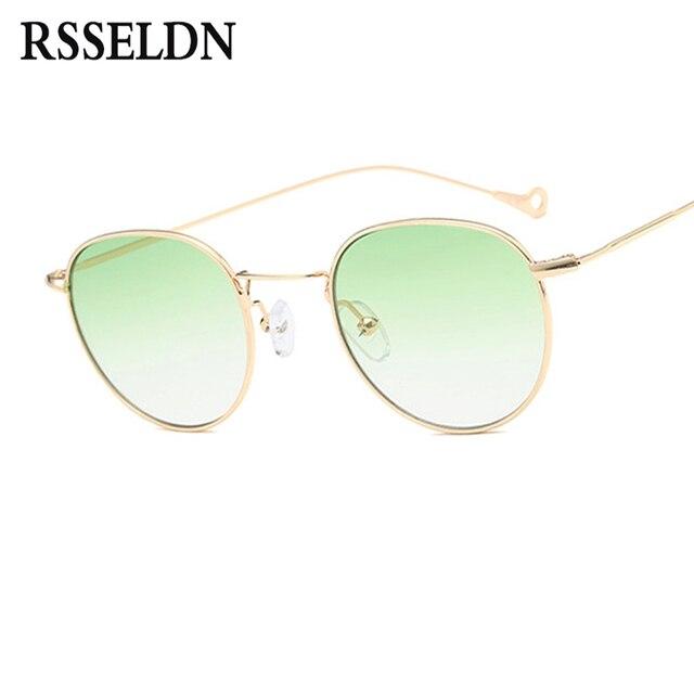 RSSELDN Lente Clara Do Vintage Rodada Óculos De Sol Das Mulheres de Verão  Pequeno Quadro Óculos 1d322cfa4a
