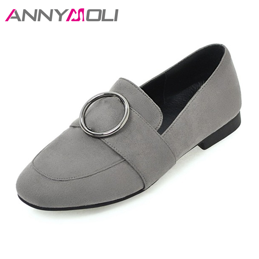ANNYMOLI 2018 Shoes Women Flats Loafers Slip On Round Toe Casual Shoes Ladies Spring Autumn Handmade Shoes Loafers Flat Apricot uexia women winter warm fur plush loafers fashion round toe slip on ladies casual flats shoes women s bow tie ladies footwear