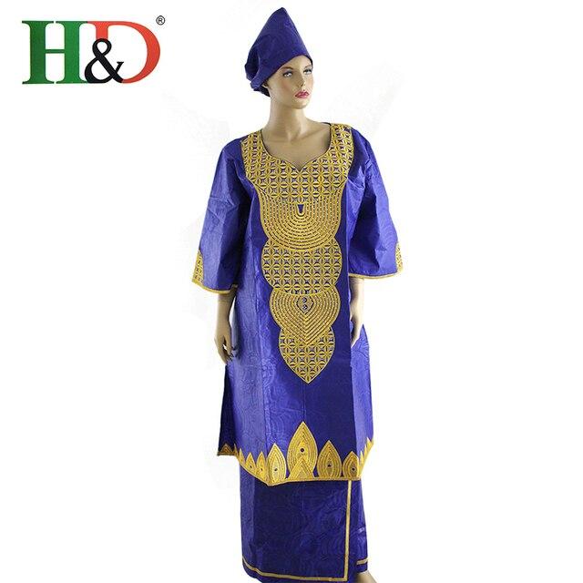 2016 Традиционных Африканских Одежды Вышитые Изысканный Леди Платье Базен Riche Проекта Длинное Платье 3/4 Рукава Dashiki HS2233PX