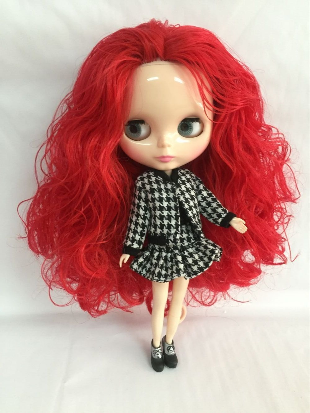 ヌードブライス人形赤髪大きな目の人形、ファッション人形gan ei25iwe(China