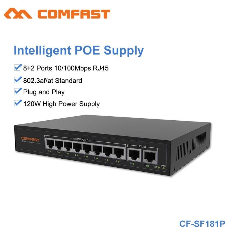 Comfast CF-SF181P 120 W alimentation de surveillance intelligente haute puissance 8 + 2 ports 10/100 Mbps commutateur POE 2G Bandwid pour caméra AP et IP sans fil
