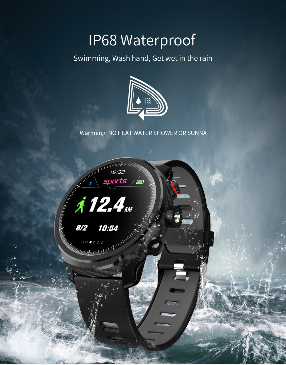 LEMFO L5 IP68 Waterproof Smart Watch For Men With Sports Mode Heart Rate Monitoring And Weather Forecast 7