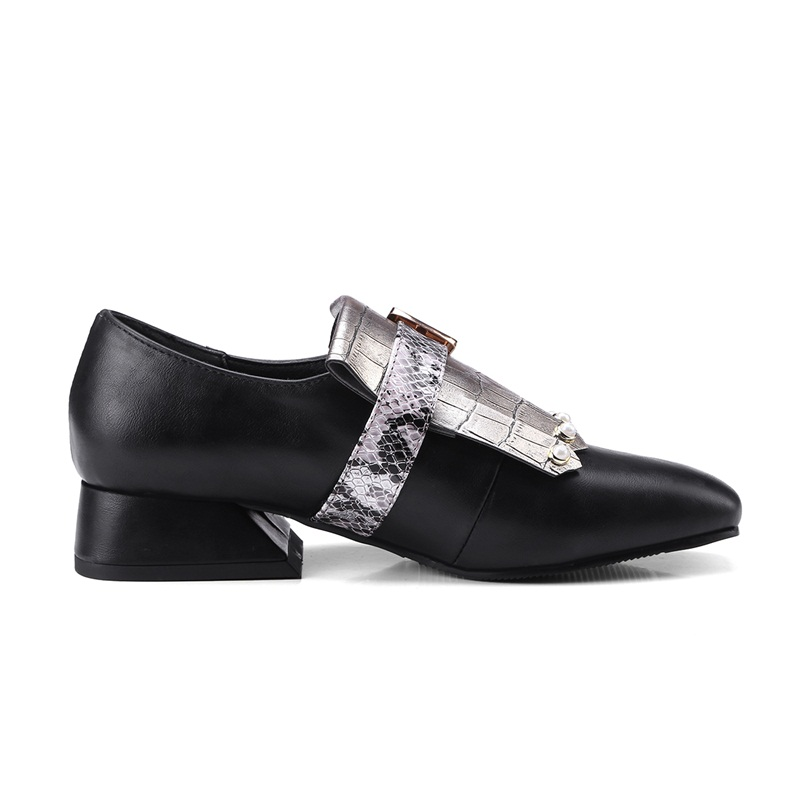 Dames Bureau Chaussures Nouveau Plat Date Talons Casual Vankaring Pu Automne Bout Printemps Carré Cuir Appartements Robe En rose Black Femmes Red Noir xZnqw6n4B