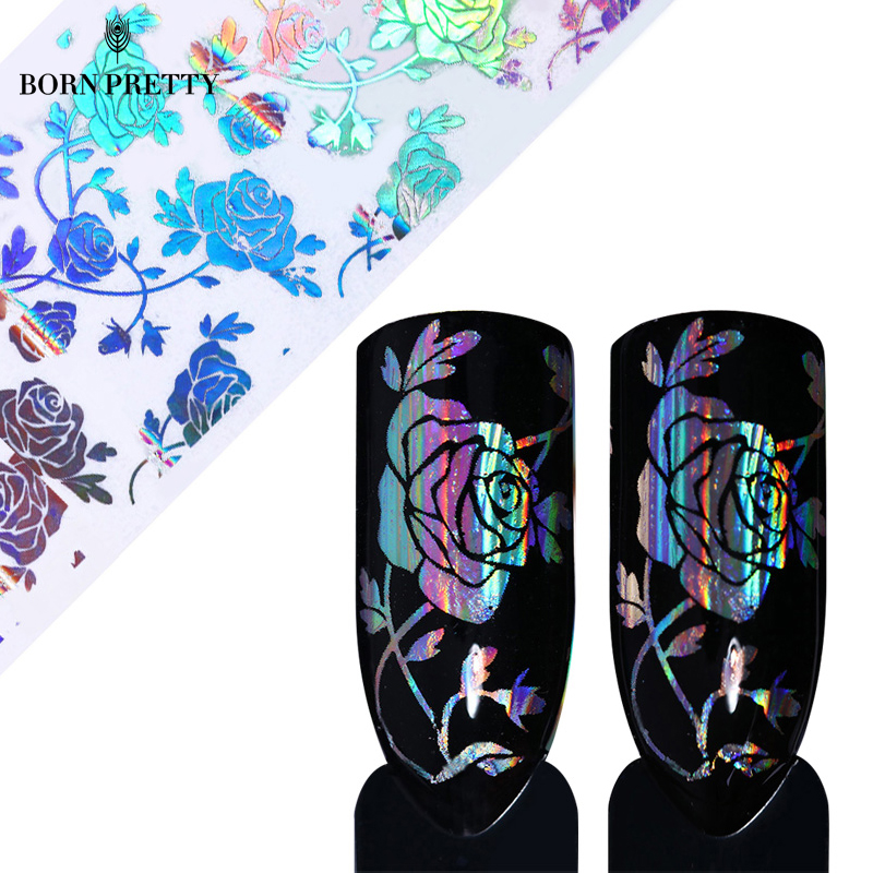 1 Roll Holo Rose Flower Starry Nail Foil 4*100cm Transfer Sticker Manicure for Nail Art Decoration 1 roll 4cm 120m gold silver holo starry sky nail foil tape nail art transfer sticker nail art decoration tools