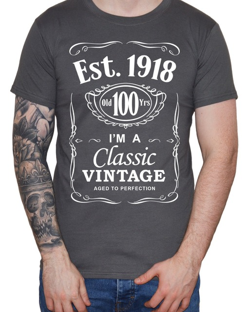 Customized Team Shirts Short Mens 100Th Birthday T Shirt 1918 Vintage Hundredth 100 Years Century Gift Men O Neck Sleeve