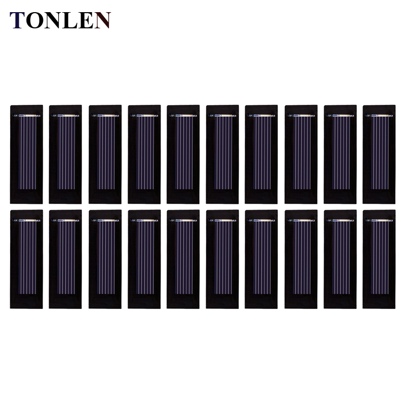TONLEN 20PCS 0.5V Solar Panel Solar Cell DIY Battery Charger 100mA 53*18mm Photovoltaic Cell Power Bank Kit Sun Cell Modul