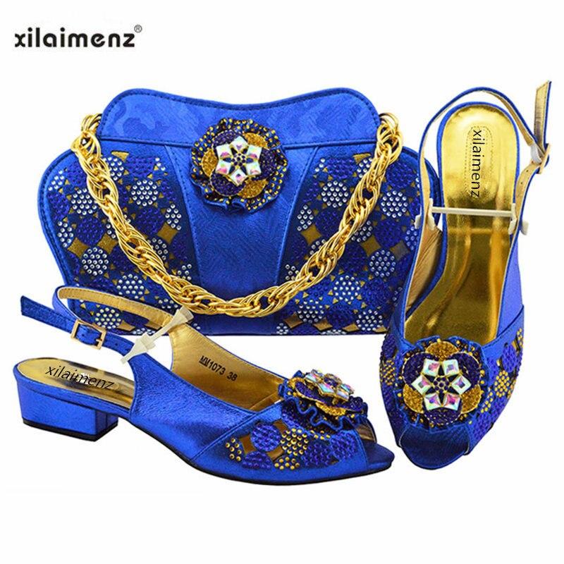 Nouvelle boutique 40% Discount 2018 nouveau Design africain violet couleur chaussure et sac ensemble pour la fête de mariage talons bas sandales