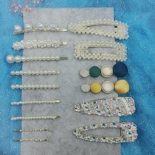 15 Pcs/set Korea Stytle Pearl Hair Clip Crystal Rhinestone Clamp Hairpin Acrylic Hollow Waterdrop Girls Accessories