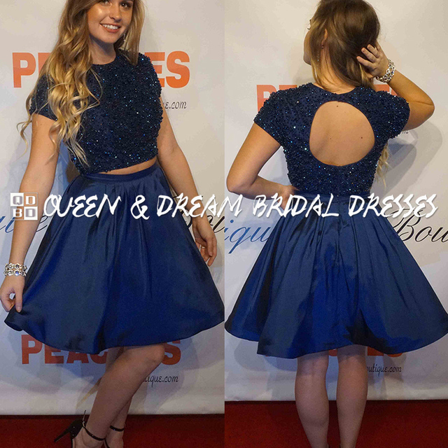 d05a97bb174 Navy Blue High Neck Beaded Two Piece Short Prom Dress Girls Prom Dress  Formal Evening Party Dress Homecoming Dress SPD29