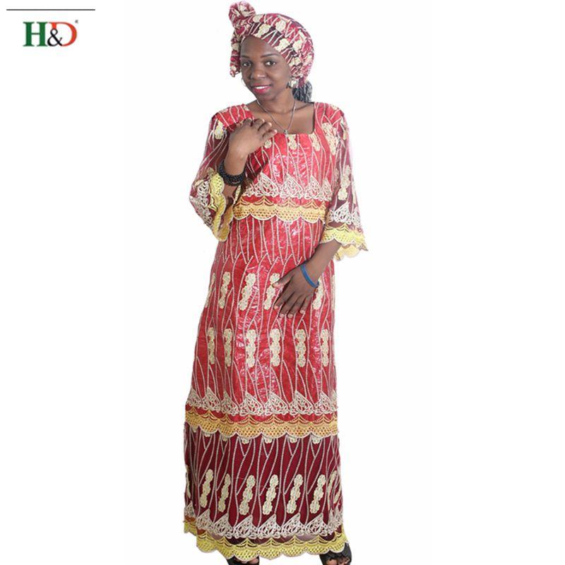 H & D africa stil kläder riche bazin afrikanska kvinnor spets outfit - Nationella kläder - Foto 5