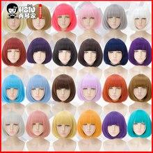 HSIU 35 см короткий парик bobo, черный, белый, фиолетовый, синий, красный, желтый, высокая температура, синтетические парики, вечерние парики для косплея