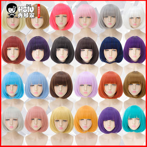 Image 1 - HSIU 35cm short bobo Wig Black white purple blue red yellow high temperature fiber Synthetic Wigs Costume Party Cosplay Wig