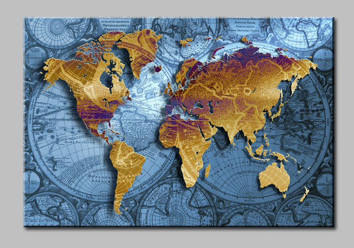 Golden World Map With Blue Sea Large Hd Canvas Print