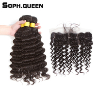 Soph queen Brazilian Deep Wave 3 Bundles With Lace Frontal Remy Human Hair Natural Black Bundles With Closure Lace Frontal