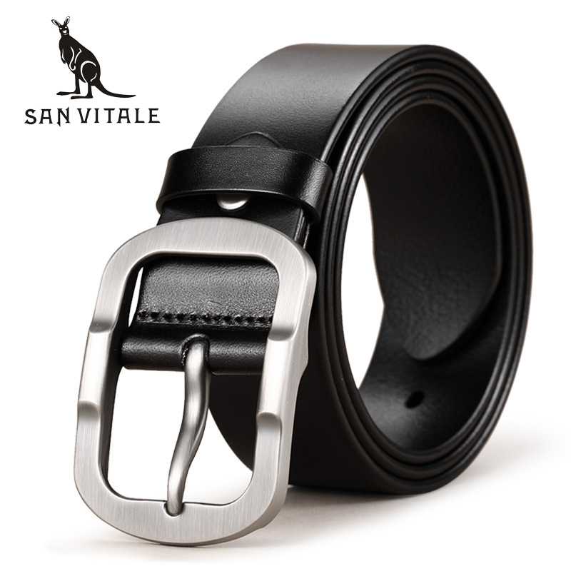 SAN VITALE Cowhide Genuine Leather Mens Belts for Men Brand Strap Male Pin Buckle Fancy Vintage Cowboy Jeans Cintos Freeshipping