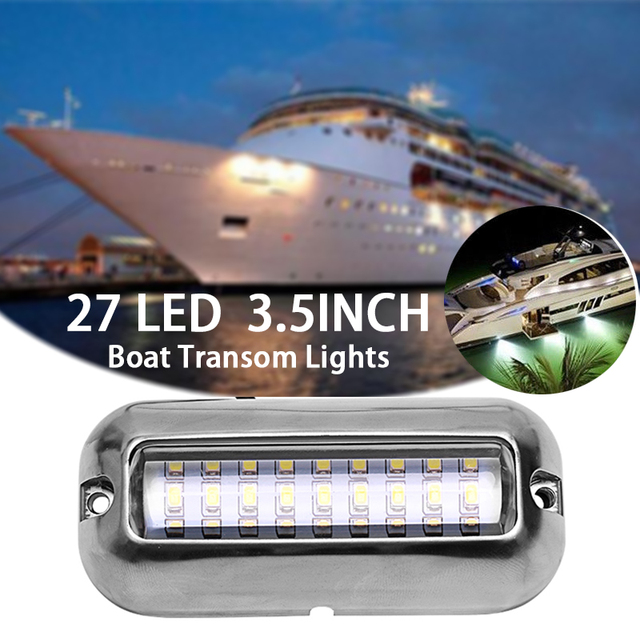 Universal 3.5inch 12V led 27 LED Marine Stainless Steel Under Water Pontoon Waterproof Boat Transom Light White/Blue/Green/Red