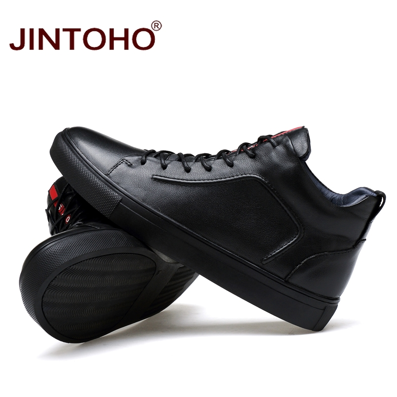 JINTOHO 2018 Casual Leather Boots Genuine Leather Men Shoes Fashion Male Shoes Winter Ankle Boots Male Boots Winter Men Shoes 1