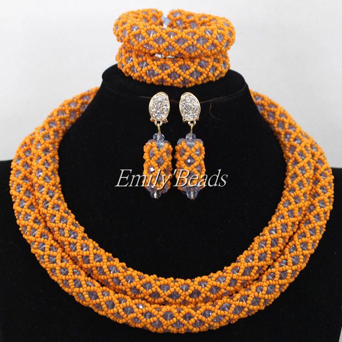 Classic Nigerian Wedding African Beads Jewelry Set Orange/Lilac ...