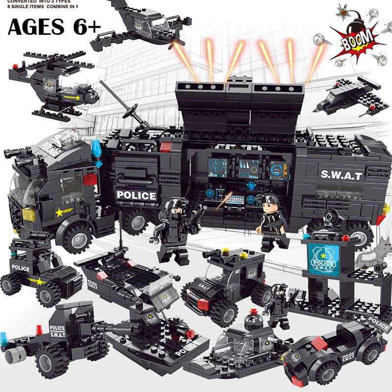 Hot Compatible Military SWAT City Police Series Building Blocks Swat Squad Commando Fugures Weapons Brick Toys Gift LegoINGlys ...