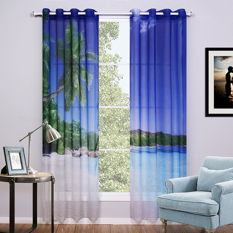2 pieces lot 3d voile curtains beach printed curtain for bedroom and living room window curtain. Black Bedroom Furniture Sets. Home Design Ideas