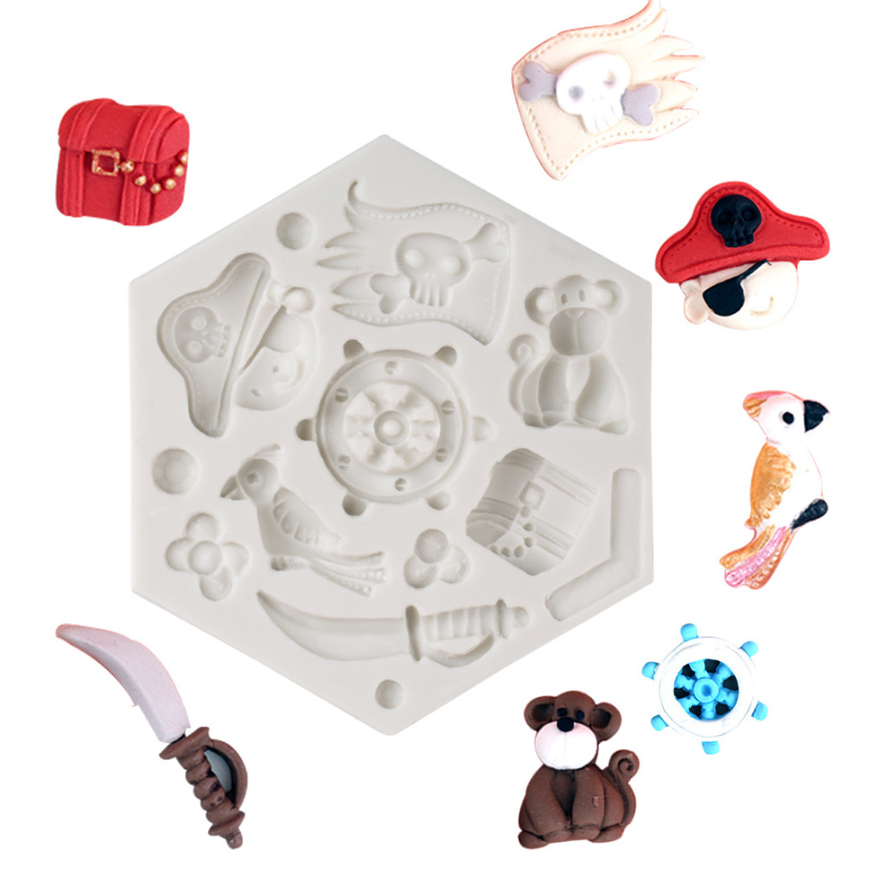 Luyou Pirates Hat Cupcake Silicone Mold Fondant Mould Cake Decorating Tools Parrot Chocolate Molds,Kitchen Accessories FM1536
