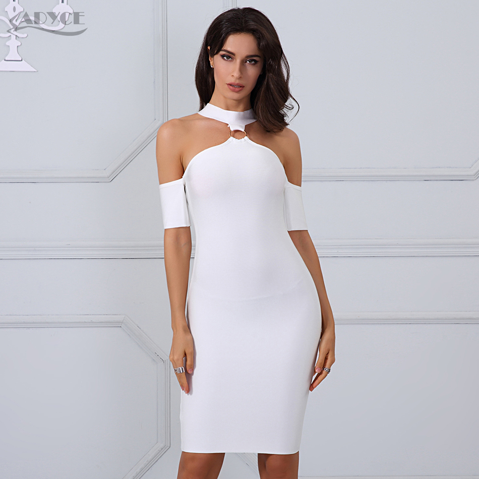 Adyce 2017 Chic Sexy Women Off the Shoulder Hollow Out Halter Summer Bandage Dress Vestidos Celebrity