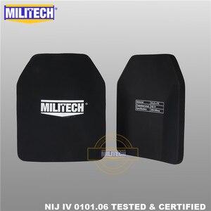 """Image 2 - Militech duas peças 10 """"x 12"""" alumina cerâmica & pe nij iv 0101.06 suporte placa à prova de balas sozinho painel balístico com frete grátis"""