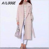 AILOOGE шерстяное пальто женский длинный пуховик Зимнее шерстяное пальто Подиум модное черное плотное теплое шерстяное пальто наряд высокого
