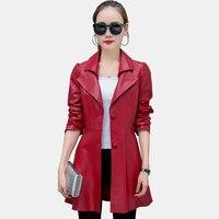 2017 Manteau De Mode CHAUDE Femmes rouge noir couleur Faux Cuir vestes Lady Bomber Moto Cool Survêtement Manteau avec Ceinture la longue