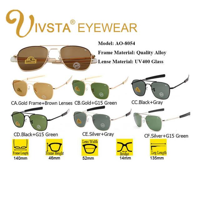 b8f07b91a47 placeholder IVSTA Pilot Sunglasses Men American Army Military Brand Driving  AO Sun Glasses For Male Glass Lenses