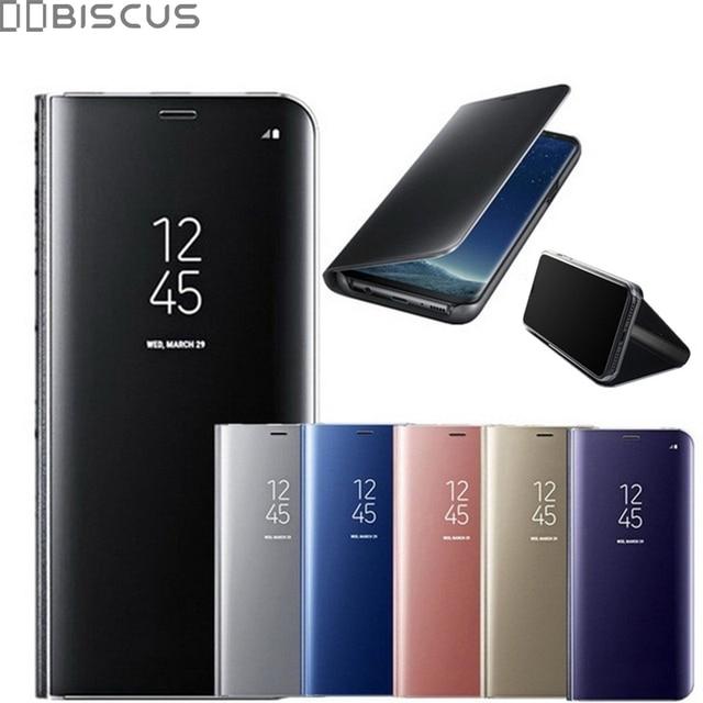 Зеркало вид Смарт флип чехол для samsung Galaxy A6 A7 A8 A9 2018 J4 J6 S8 S9 плюс J8 A600 J2 Core A5 J3 J5 J7 Neo 2017 S7 край