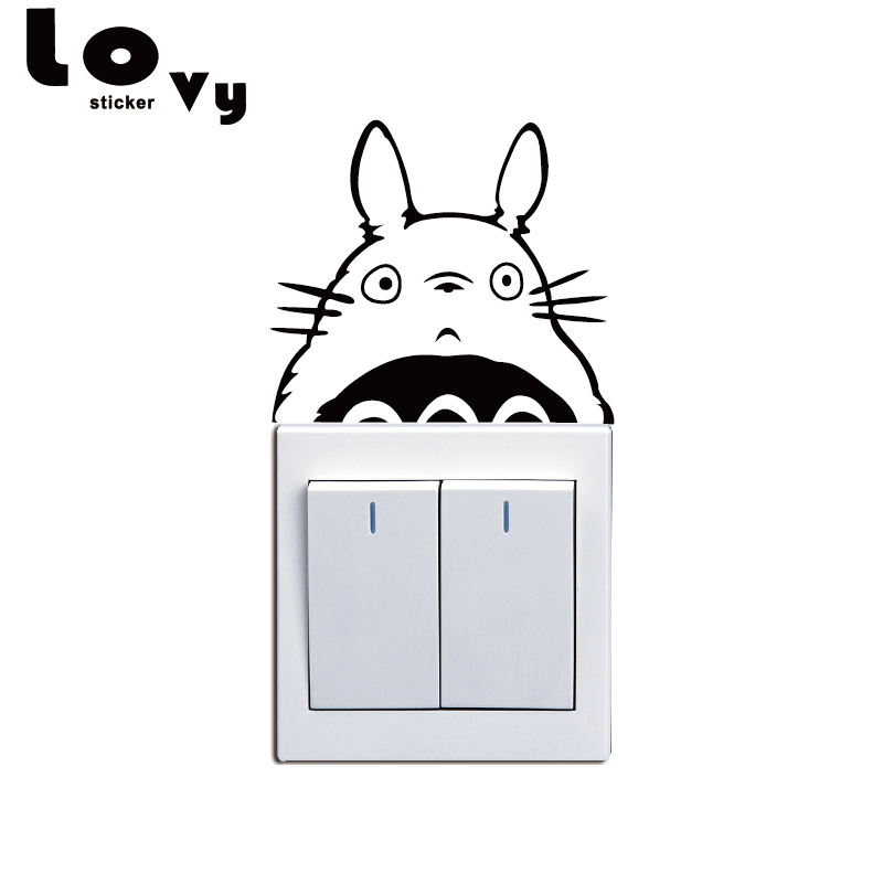Hayao Miyazaki Animation Totoro Series Vinyl Switch Sticker Cat Wall Stickers for Kids Room Home Decor