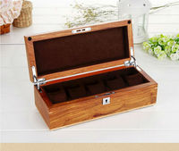 Top Grade African 5 grid original wooden clock pear storage box watches wooden boxes with lock key organizer case MSBH004d