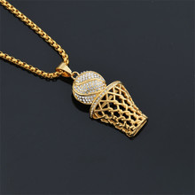 MCSAYS Hiphop Jewelry Stainless Steel Basketball And Hoop Gold/Sliver Color Pendant Box Chain Necklace For Men/Women Gifts 3GM